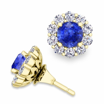 Ceylon Sapphire Studs and Halo Diamond Earring Jackets in 18k Gold, 5mm