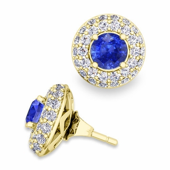 Pave Diamond Earring Jackets and Ceylon Sapphire Studs in 18k Gold, 5mm