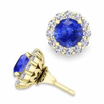 Ceylon Sapphire Studs and Halo Diamond Earring Jackets in 18k Gold, 6mm