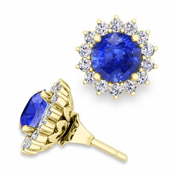 Halo Diamond Earring Jackets and Ceylon Sapphire Studs in 18k Gold, 6mm