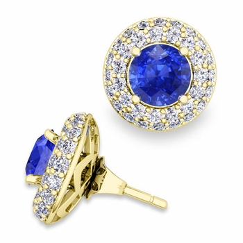 Pave Diamond Earring Jackets and Ceylon Sapphire Studs in 18k Gold, 6mm