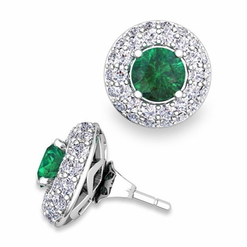 Pave Diamond Earring Jackets and Emerald Studs in 14k Gold, 5mm