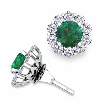 Emerald Studs and Halo Diamond Earring Jackets in 14k Gold, 5mm
