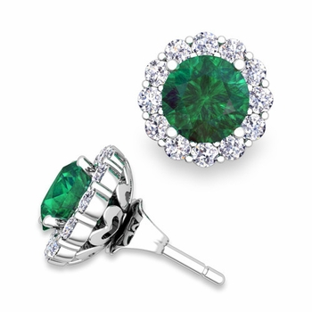 Emerald Studs and Halo Diamond Earring Jackets in 14k Gold, 6mm