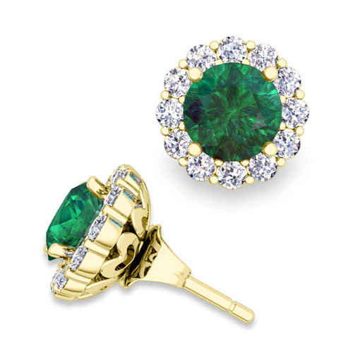 Order Now Ships On Wednesday 1 2order In 12 Business Days Emerald Studs And Halo Diamond Earring