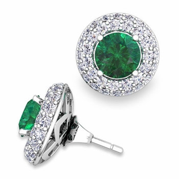 Pave Diamond Earring Jackets and Emerald Studs in 14k Gold, 6mm
