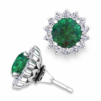 Halo Diamond Earring Jackets and Emerald Studs in 14k Gold, 6mm