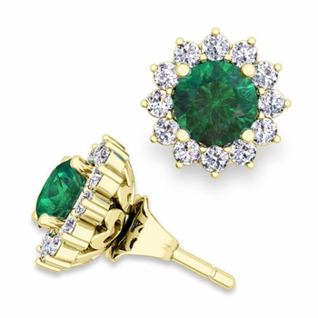 Halo Diamond Earring Jackets and Emerald Studs in 18k Gold, 5mm