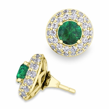 Pave Diamond Earring Jackets and Emerald Studs in 18k Gold, 5mm