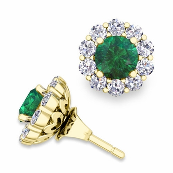 Emerald Studs and Halo Diamond Earring Jackets in 18k Gold, 5mm