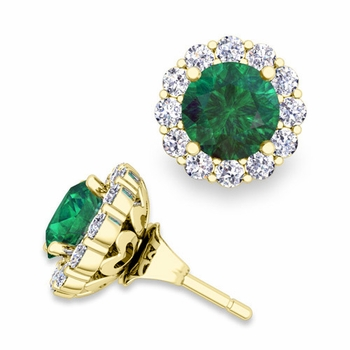Emerald Studs and Halo Diamond Earring Jackets in 18k Gold, 6mm