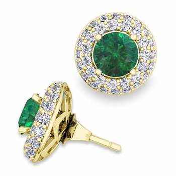 Pave Diamond Earring Jackets and Emerald Studs in 18k Gold, 6mm