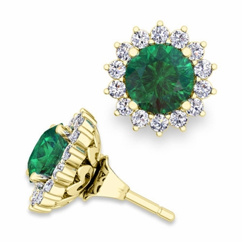 Halo Diamond Earring Jackets and Emerald Studs in 18k Gold, 6mm