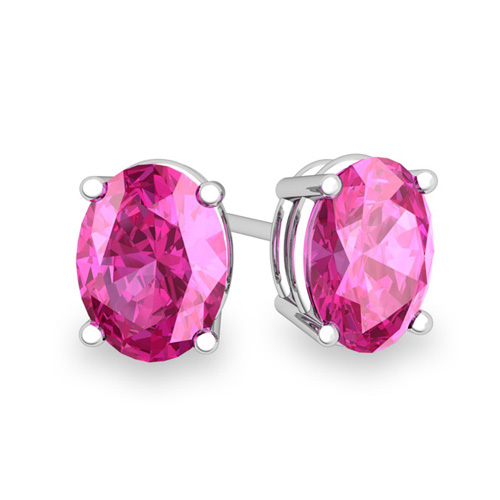 187a68203 14k White Gold Baby Pink Sapphire Stud Earrings Chillatto -> Source.  Natural ...