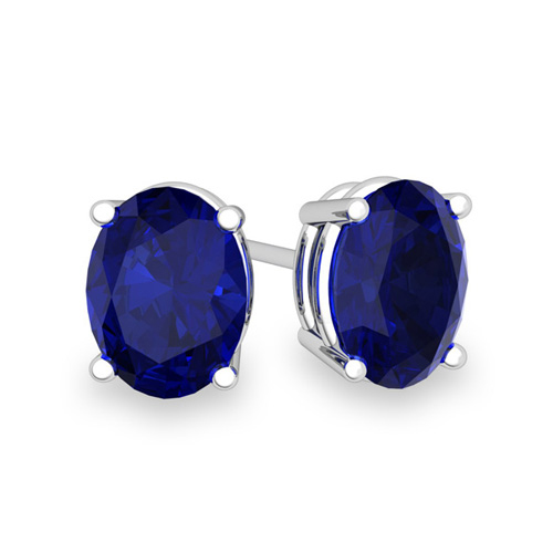 4990512248ca0 Natural Oval Sapphire Stud Earrings in 14k Gold 4 Prong Studs, 7x5mm