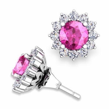 Halo Diamond Earring Jackets and Pink Sapphire Studs in 14k Gold, 5mm