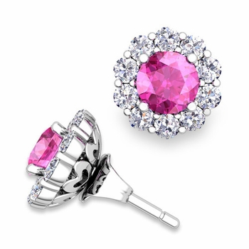 Pink Sapphire Studs and Halo Diamond Earring Jackets in 14k Gold, 5mm