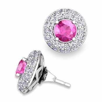 Pave Diamond Earring Jackets and Pink Sapphire Studs in 14k Gold, 5mm