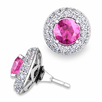 Pave Diamond Earring Jackets and Pink Sapphire Studs in 14k Gold, 6mm