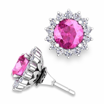 Halo Diamond Earring Jackets and Pink Sapphire Studs in 14k Gold, 6mm
