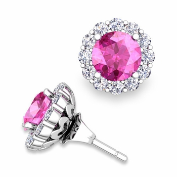 Pink Sapphire Studs and Halo Diamond Earring Jackets in 14k Gold, 6mm