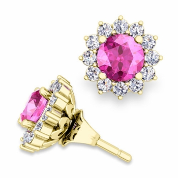 Halo Diamond Earring Jackets and Pink Sapphire Studs in 18k Gold, 5mm