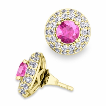 Pave Diamond Earring Jackets and Pink Sapphire Studs in 18k Gold, 5mm