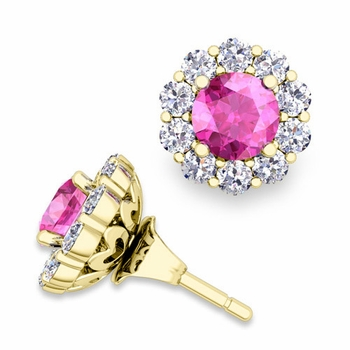 Pink Sapphire Studs and Halo Diamond Earring Jackets in 18k Gold, 5mm
