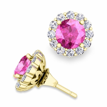Pink Sapphire Studs and Halo Diamond Earring Jackets in 18k Gold, 6mm