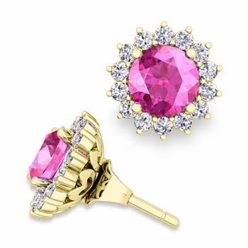 Halo Diamond Earring Jackets and Pink Sapphire Studs in 18k Gold, 6mm