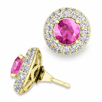 Pave Diamond Earring Jackets and Pink Sapphire Studs in 18k Gold, 6mm