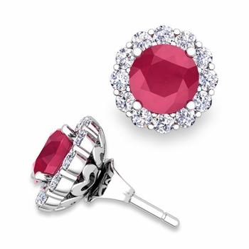 Ruby Studs and Halo Diamond Earring Jackets in 14k Gold, 6mm