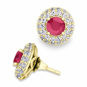 Pave Diamond Earring Jackets and Ruby Studs in 18k Gold, 5mm