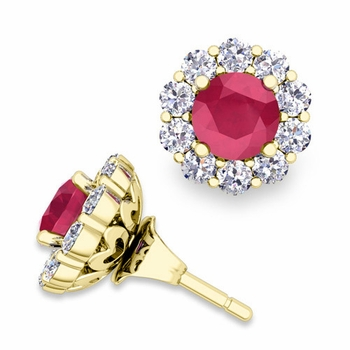 Ruby Studs and Halo Diamond Earring Jackets in 18k Gold, 5mm