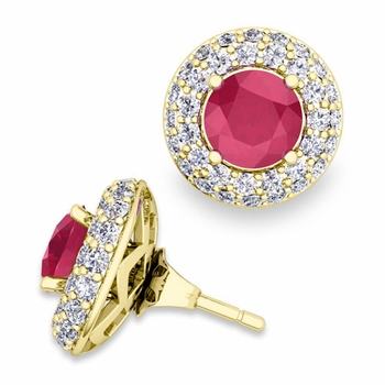 Pave Diamond Earring Jackets and Ruby Studs in 18k Gold, 6mm