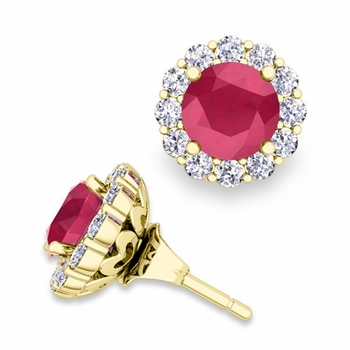 Ruby Studs and Halo Diamond Earring Jackets in 18k Gold, 6mm