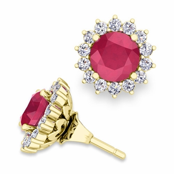 Halo Diamond Earring Jackets and Ruby Studs in 18k Gold, 6mm
