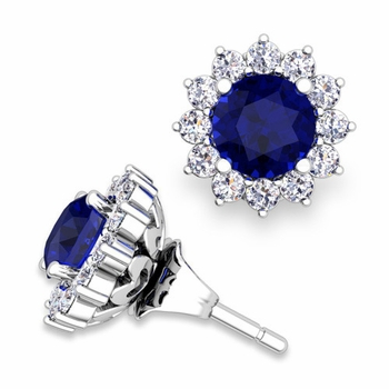 Halo Diamond Earring Jackets and Sapphire Studs in 14k Gold, 5mm
