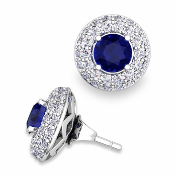Pave Diamond Earring Jackets and Sapphire Studs in 14k Gold, 5mm