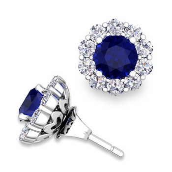 Sapphire Studs and Halo Diamond Earring Jackets in 14k Gold, 5mm