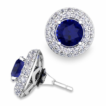 Pave Diamond Earring Jackets and Sapphire Studs in 14k Gold, 6mm
