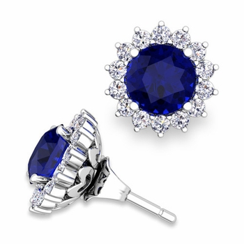 Halo Diamond Earring Jackets and Sapphire Studs in 14k Gold, 6mm
