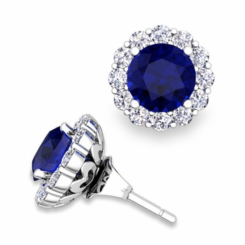 Sapphire Studs and Halo Diamond Earring Jackets in 14k Gold, 6mm