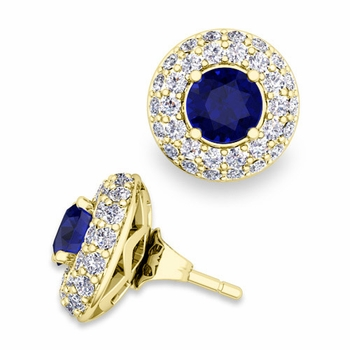 Pave Diamond Earring Jackets and Sapphire Studs in 18k Gold, 5mm