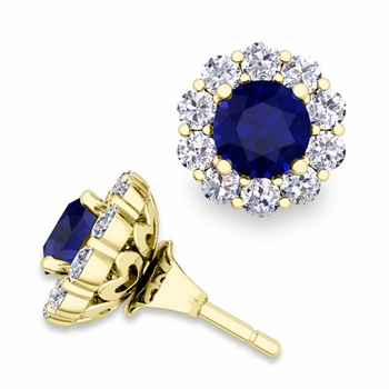 Sapphire Studs and Halo Diamond Earring Jackets in 18k Gold, 5mm