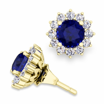 Halo Diamond Earring Jackets and Sapphire Studs in 18k Gold, 5mm