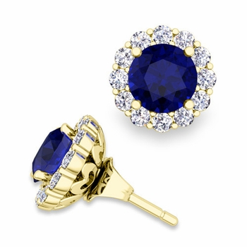 Sapphire Studs and Halo Diamond Earring Jackets in 18k Gold, 6mm