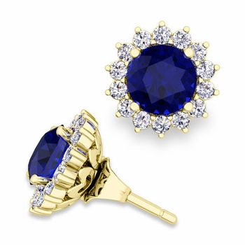 Halo Diamond Earring Jackets and Sapphire Studs in 18k Gold, 6mm
