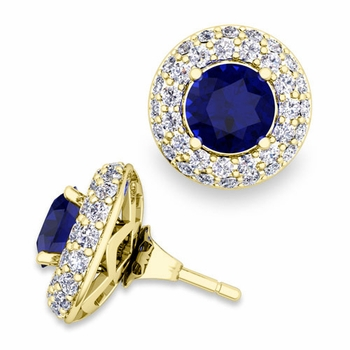 Pave Diamond Earring Jackets and Sapphire Studs in 18k Gold, 6mm