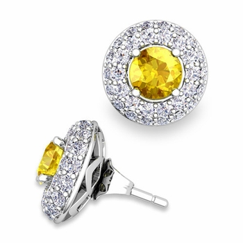 Pave Diamond Earring Jackets and Yellow Sapphire Studs in 14k Gold, 5mm